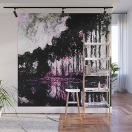 Monet Poplars on the Banks of the River Epte Pink Dark Wall Mural
