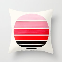 Red Mid Century Modern Minimalist Circle Round Photo Staggered Sunset Geometric Stripe Design Throw Pillow