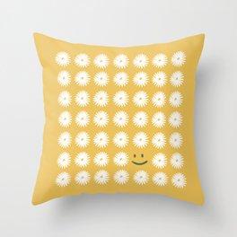 Smiley Daisy Throw Pillow