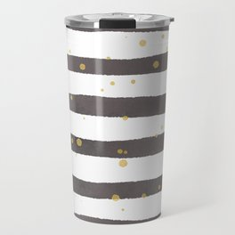 Modern gray yellow white watercolor splatters stripes Travel Mug