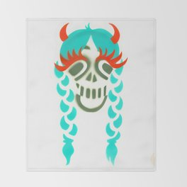 Happy braided Skull Lady_turquoise Throw Blanket