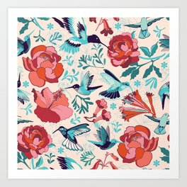 Hummingbird summerdance Art Print