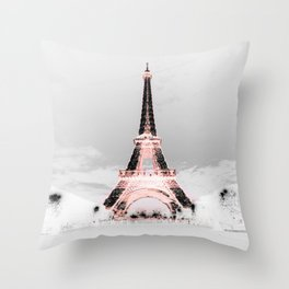 pariS Black & White + Pink copyright 2sweet4wordsDesigns Throw Pillow