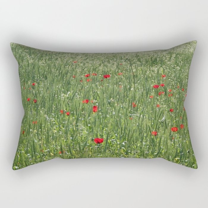 Poppy Field And Springtime Hay Meadow  Rectangular Pillow