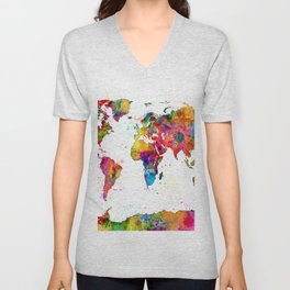 Map of the World Map Watercolor Unisex V-Neck