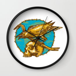 Crow Perching Crowbar Skull Barbed Wire Drawing Wall Clock