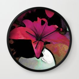 Pink Lily in a Vase Wall Clock