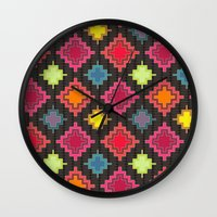 kilim Wall Clocks featuring kilim bold by Sharon Turner