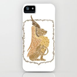 Mythical griffon in a floral wreath iPhone Case