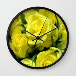 Yellow Glamorous Roses Floral Bouquet Wall Clock