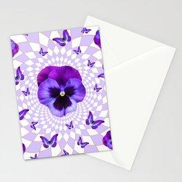 PURPLE BUTTERFLIES & PANSIES GEOMETRIC WHITE PATTERN Stationery Cards