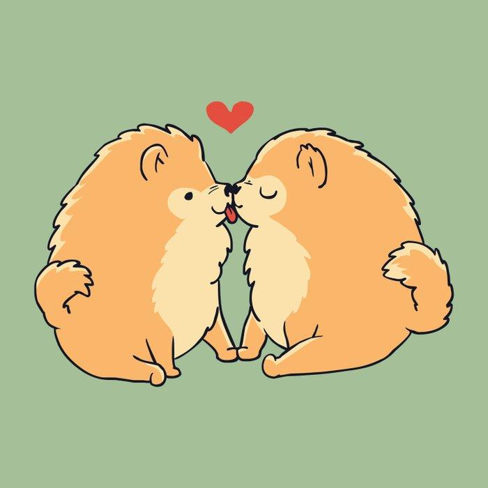 Pomeranian Kisses Duvet Cover