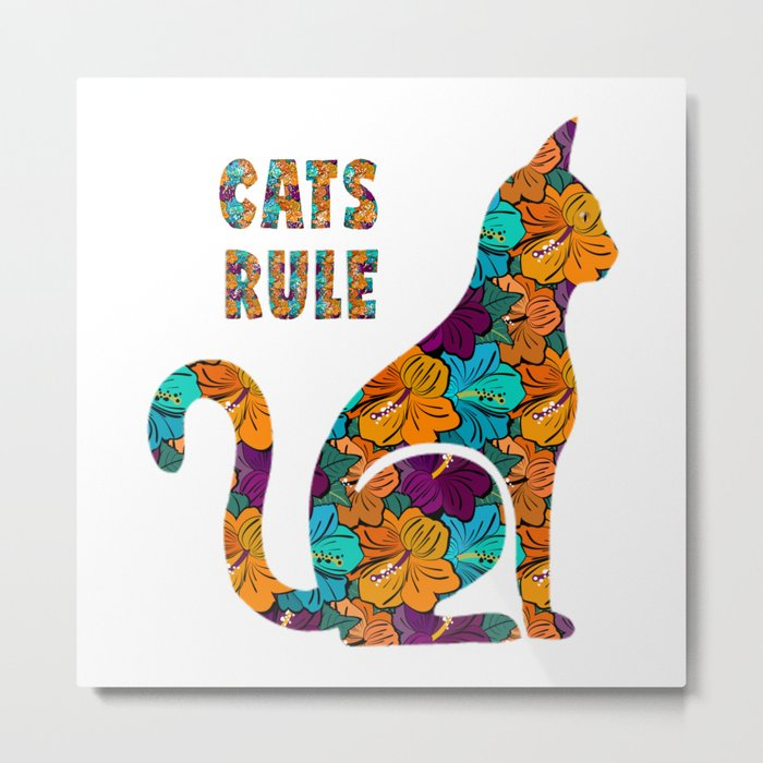 Cats Rule Silhouette With Hibiscus Flowers Metal Print