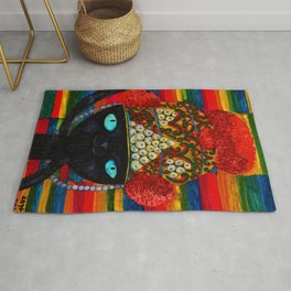 Cat with Lao traditional hat Rug