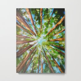 Lost in the woods, light on the tops of trees, forest of trees art ,impressionist acrylic painting Metal Print