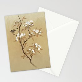 White Pear Blossoms And Sparrow Stationery Cards