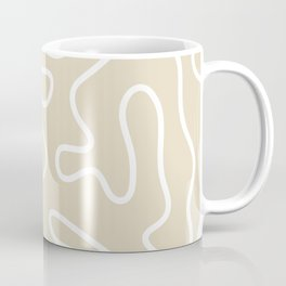 Squiggle Maze Abstract Minimalist Pattern in Neutral Mushroom Beige and White Coffee Mug
