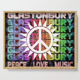 Glastonbury Peace Love Music Serving Tray
