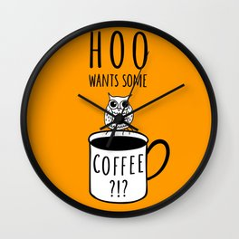 Coffee poster with owl Wall Clock