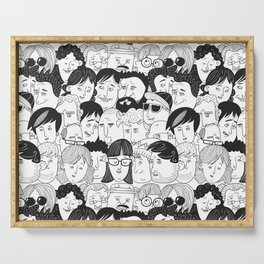 Colorful People Faces Pattern Serving Tray
