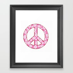 Peace Sign With Flowers In Pink Framed Art Print