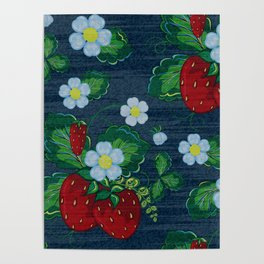 Strawberries and Daisies - Strawberry Patch  - Fruit Poster