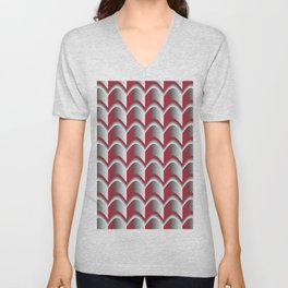 Abstract Red&Grey Pattern Unisex V-Neck