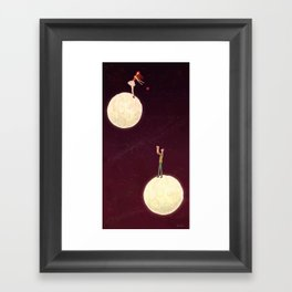2 moons, a girl and a boy! Framed Art Print