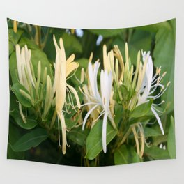 Closeup shot of Lonicera European Honeysuckle Flower Wall Tapestry