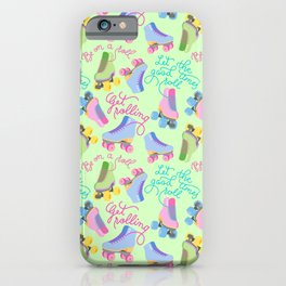 Roller Skates Pattern (Green Background) iPhone Case