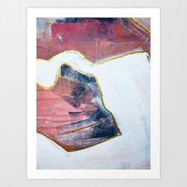City Lights: a vibrant, minimal abstract mixed-media piece in blue and pink by Alyssa Hamilton Art Art Print
