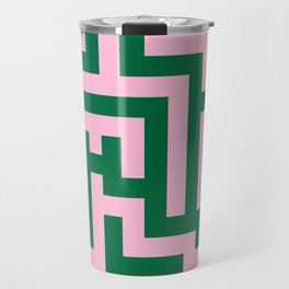Cotton Candy Pink and Cadmium Green Labyrinth Travel Mug