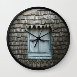 GRAY WOODEN HOUSE WITH CLOSED BLUE WOODEN FRAMED GLASS WINDOW Wall Clock