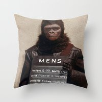 planet of the apes Throw Pillows featuring Planet of the Apes  by Rotton Cotton Candy