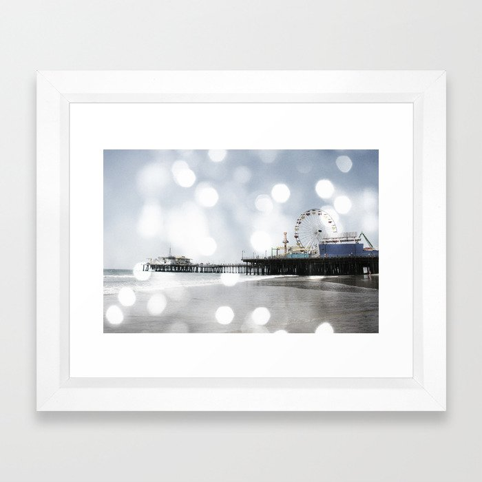 Sparkling grey Santa Monica Pier Framed Art Print by Christine aka stine1