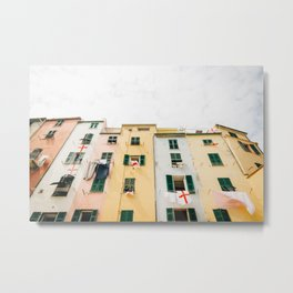 Photo of colored houses in Portovenere, Cinque Terre Italy | Fine Art Colorful Travel Photography | Metal Print
