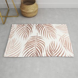 Stylish elegant rose gold foil palm tree leaves Rug