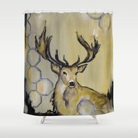 stag Shower Curtains featuring Stag by Sonal Nathwani