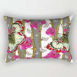 RED-YELLOW  ORIENTAL STYLE BUTTERFLIES & PINK ROSES GREY PATTERN DESIGN FROM SOCIETY6   BY SHARLESAR Rectangular Pillow