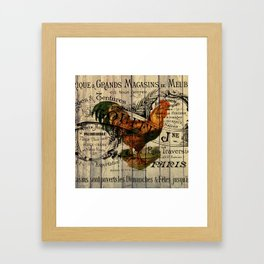 vintage typography barn wood shabby french country poulet chicken rooster Framed Art Print