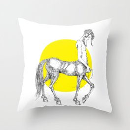 Young centaur with headphones and mp3 player Throw Pillow