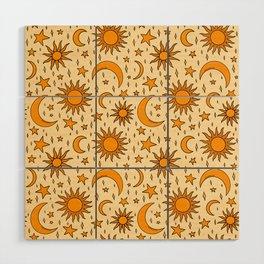 Vintage Sun and Star Print Wood Wall Art