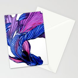 Pink and Blue Betta Fish Stationery Cards
