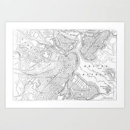 Vintage Map of Boston (1878) Art Print