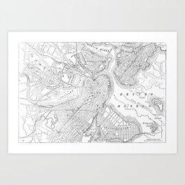 Vintage Map of Boston (1878) Art Print