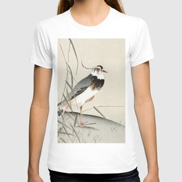 Lapwing in the field  - Vintage Japanese Woodblock Print Art T-shirt