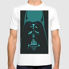 Tron Darth Vader Outline White Mens Fitted Tee MEDIUM