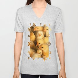 Clutch of Yellow Fluffy Chicks With Decorative Border Unisex V-Neck