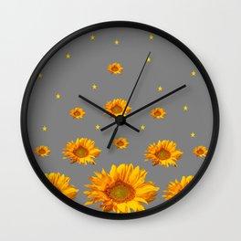 RAINING GOLDEN STARS YELLOW SUNFLOWERS GREY COLOR Wall Clock