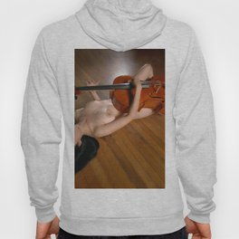 0149-JC Nude Cellist with Her Cello and Bow Naked Young Woman Musician Art Sexy Erotic Sweet Sensual Hoody